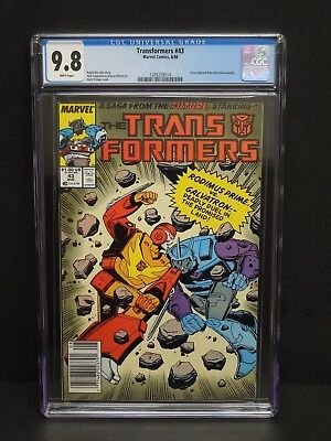 Marvel Comics Transformers #43 1988 Cgc 9.8 White Pages Newsstand Upc