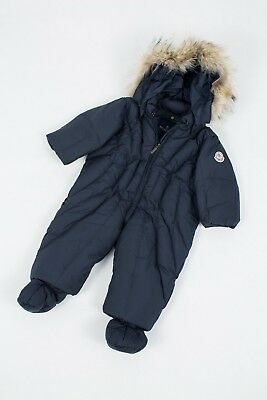 44a110c18 Rare Baby Moncler Down Logo Overall Jumpsuit Ski Jacket Real Fur 9-12 Mon 74