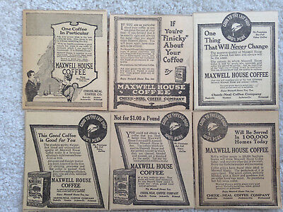 "Six Vintage Cheek-Neal Maxwell House Coffee 1917 Magazine Ads @4.5""X5.25""Each"