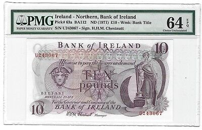 1971 Northern Ireland 10 Pounds, Bank of Ireland, PMG 64 EPQ UNC, SCARCE P-63a