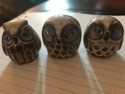 "3 small owl figurines 1 1/2"" tall white light blue and brown"
