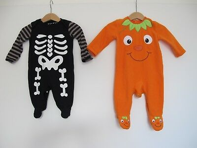 2 x Baby Biy Girl Halloween Outfit Fancy Dress 0-3 3-6 Months Babygrow Sleepsuit