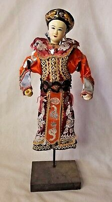 Antique Chinese Opera Doll Empress Fine Silk Robes As Is Qing Dynasty 1930