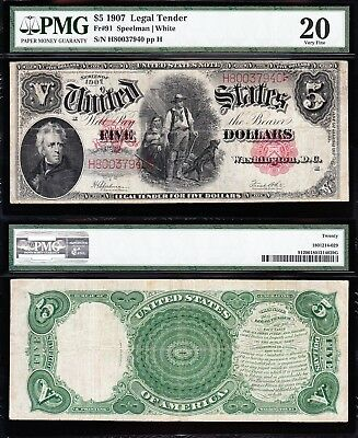 "VERY NICE Bold Mid-Grade VF $5 1907 ""WOODCHOPPER"" Note! PMG 20! H80037940"