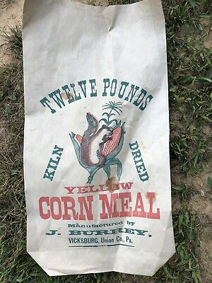 J Burrey Twelve Pound Corn Meal Bag Vicksburg Lewisburg PA