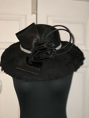 BEAUTIFUL Black Rose Special Occasion Hat 🎩