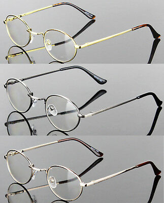 New Mens Womens Clear Lens Eye Glasses Retro Metal Frame Oval Fashion Optical RX