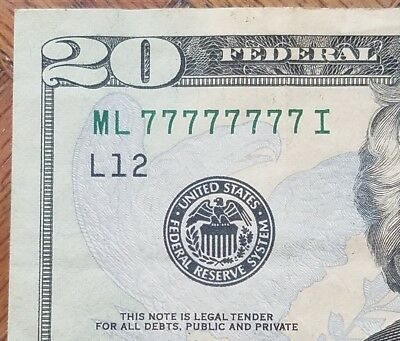 2013 $20 Federal Reserve Note Fancy SOLID LUCKY 7 Serial Number VERY RARE!!!