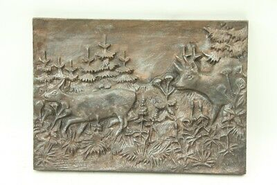 Old Picture Cast Iron Relief Art Cast Steel Mural Decor Old Vintage