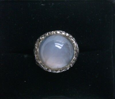 Antique Chinese Lavender Chalcedony and Silver Ring