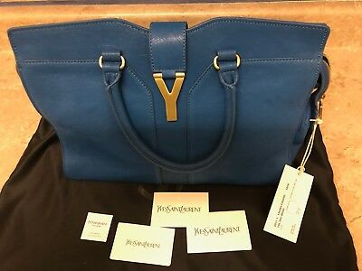NWT Yves Saint Laurent YSL Cabas Chyc Leather Tote Bag Italy , blue