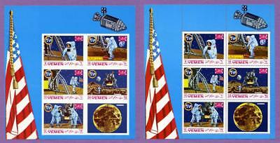 Yemen 1969 Apollo 11 First Man on the Moon Souvenir Mini Sheets - Imperf & Perf