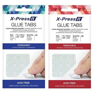 X-Press It Glue Tabs Clear Adhesive Squares Removable or Permanent