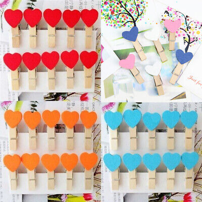 10/50Pc Mini Wooden Pegs Photo Note Clip Love Heart Wedding Home Decor Gift 35mm