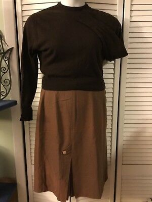 Vintage 60s choco brown cashmere pullover sweater girl bombshell Sz 8-10 w/skirt
