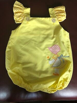 Vintage 1970s Infant Girls Yellow Romper