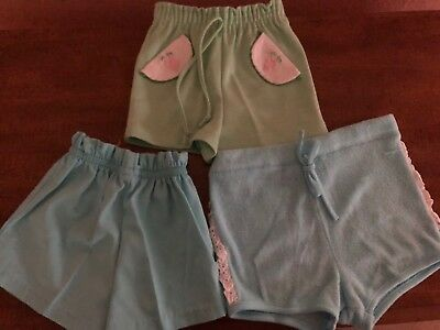 Vintage 1970's Lot Of 3 Girls Blue And Green Shorts
