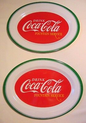 2 Drink Coca-Cola Melamine Serving Tray SET Plastic Gibson Coke NEW LOT 13 3/4""
