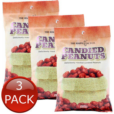 3 x HAPPY NUT CO. CANDIED PEANUTS SWEET ROASTED NUTS SNACK BEER COMPANION 225g