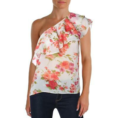 62dfc48896d Aqua Womens Ivory Floral Print One Shoulder Ruffle Blouse Top M BHFO 6953