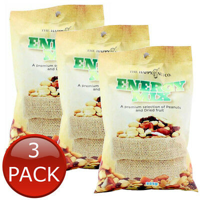 3 x THE HAPPY NUT CO. ENERGY TRAIL MIX MIXED PEANUTS DRIED FRUIT SNACK 225g