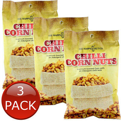 3 x HAPPY NUT CO. CHILLI CORN NUTS BEER COMPANION CHILLI TOASTED SNACK 150g