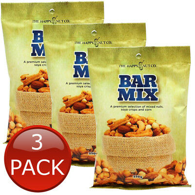 3 x HAPPY NUT CO. BAR MIX PEANUTS SOYA CRISPS CORN SNACK CASHEWS ALMONDS 250g