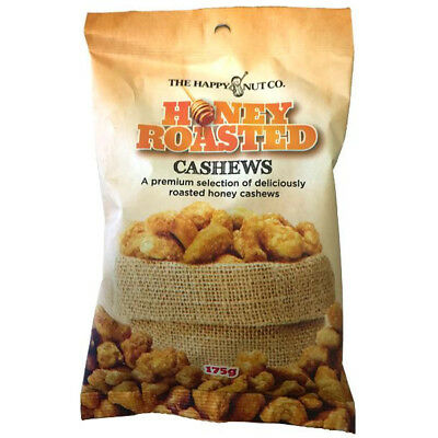 HAPPY NUT CO. HONEY ROASTED CASHEWS PREMIUM NUTS GLUTEN FREE CASHEW SNACK 175g