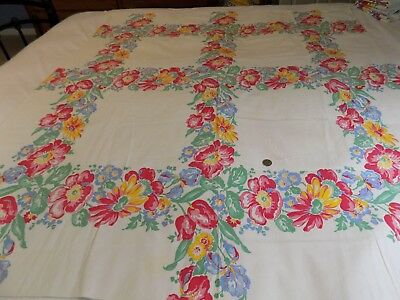 Vintage Mid Century Cotton Tablecloth Red Floral on Off White 48 X 54""