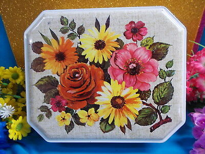 Lovely Collectors Flower Tin - Hinged Lid - Made In Great Britain By Burton's