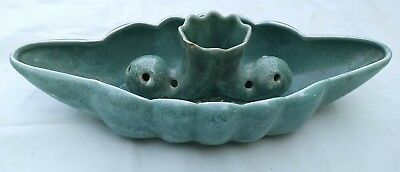 Vtg Anna Van Briggle Art Pottery  Console Garden Bowl Flower Frog 2 Pc
