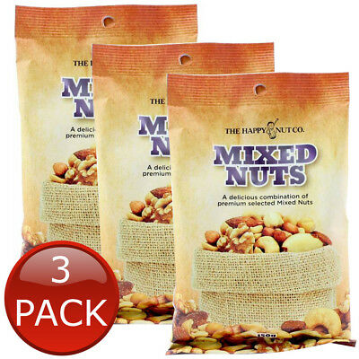 3 x HAPPY NUT CO. MIXED NUTS PREMIUM PEANUTS ALMONDS CASHEWS SNACK ASSORTED 150g