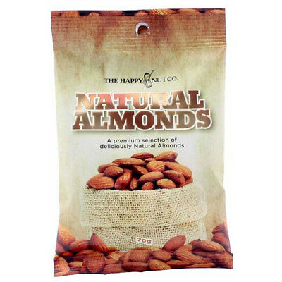 HAPPY NUT CO. NATURAL ALMONDS PREMIUM NUTS GLUTEN FREE SNACK APPETIZER CRISP 70g