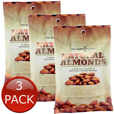 3 x HAPPY NUT CO. NATURAL ALMONDS PREMIUM NUTS GLUTEN FREE SNACK APPETIZER 70g