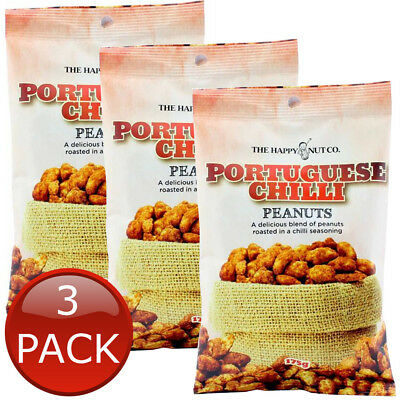3 x HAPPY NUT CO. PORTUGUESE CHILLI PEANUTS FLAVOURED ROASTED NUTS SNACKS 175g