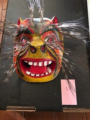 Mexican UNIQUE Carving Folk Art Wood Festival Lion Cat Mask Man Wooden 11