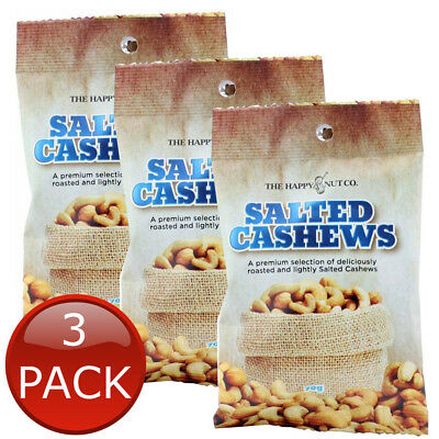 3 x HAPPY NUT CO. SALTED CASHEWS FLAVOURED ROASTED NUTS SNACK BEER APPETIZER 70g