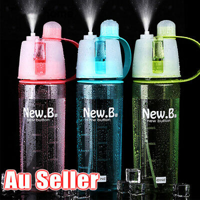 AU 600ml Cycling Water Drink Bottle Mist Spray Portable Outdoor Sports Gym Cup
