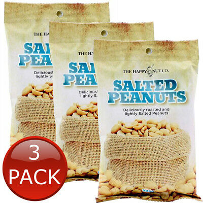 3 x HAPPY NUT CO. SALTED PEANUTS FLAVOURED ROASTED NUTS SNACK APPETIZER 225g