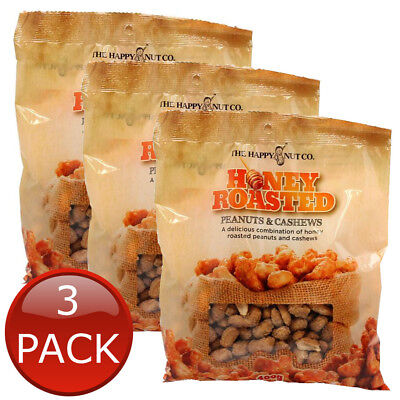 3 x HAPPY NUT CO. HONEY ROASTED PEANUTS CASHEWS PREMIUM NUTS  APPETIZER 400g