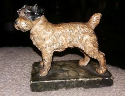 Lovely Antique Miniature Cold Painted Spelter Terrier Dog