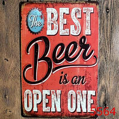 Metal Tin Sign best beer is a open one Decor Bar Home Vintage Retro Poster Cafe
