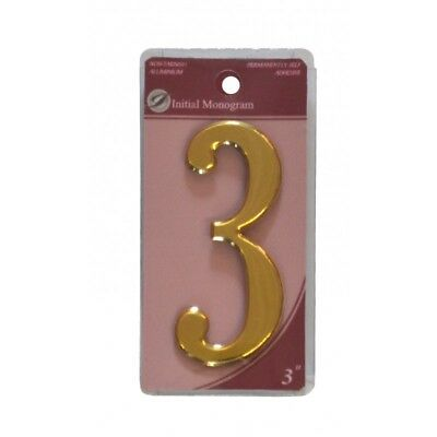 3 inch House Number 3 Gold Effect Numeral 3