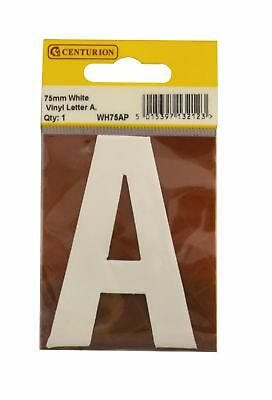 75 mm White Helvetica Bold Condensed Style Vinyl Letter A