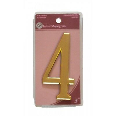 3 inch House Number 4 Gold Effect Numeral 4
