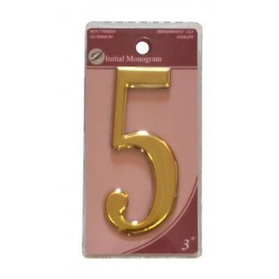 3 inch House Number Gold Effect Numeral 5