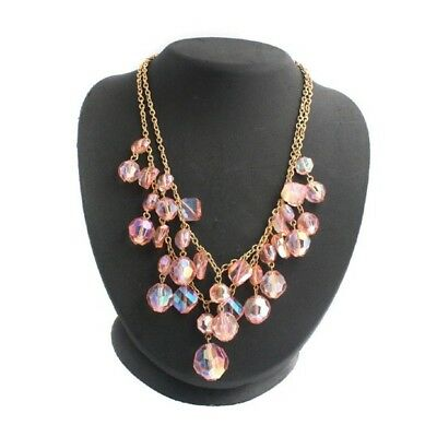 """QVC Necklace Pink Faceted GoldTone Aurora Borealis Bead 17""""  Cyber Monday"""