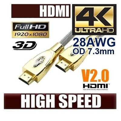 V2.0 4K Ultra HD Premium HDMI Cable Gold Plated 3D High Speed Ethernet 1m ~ 20m