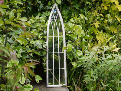 Beautiful Slim Rustic Gothic Arch Style Home Or Garden Panel Mirror (3372)
