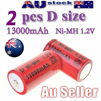 2x D Size NI-MH Rechargeable Cell Battery 13000-mah NIMH Batteries 1.2V AU SHIP